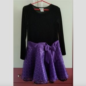 Black velvet dress with purple skirt